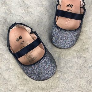 H&M Glitter Sparkle Flats Baby Girl Shoes Blue